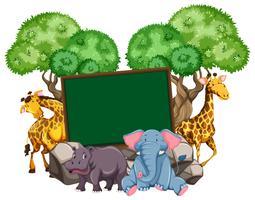 Gränsmall med många djur vektor