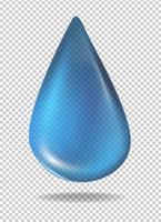 Dropp av blå vätska