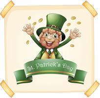 St Patrick's Day med leprechaun och guld vektor