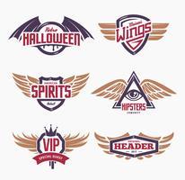 Emblem med vingarna vektor
