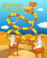 Boardgame-Vorlage mit Wüste im Hintergrund vektor