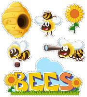 Aufklebersatz für Bienen und Bienenstock vektor