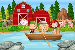 Kinder am ländlichen Bauernhof kampieren