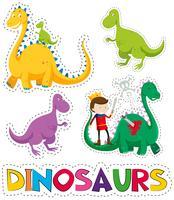 Dinosaurier und Prinz im Aufkleberdesign vektor
