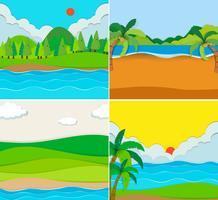 Fyra scener av strand och flod vektor
