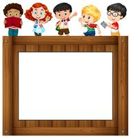 Kinder stehen um den Rahmen vektor