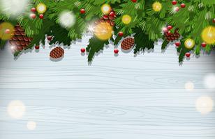 Hintergrundschablone mit Verzierungen auf Weihnachtsbaum vektor