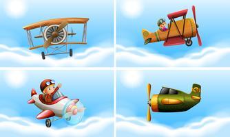 Vier Flugzeugtypen vektor
