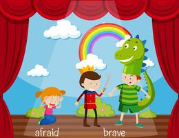 Motsatt ord för rädd och modig
