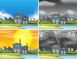 Sats av industriella fabriksscener