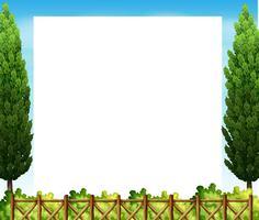 Gränsdesign med träd och staket