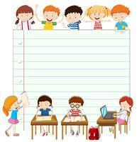 Linie Papierdesign mit Kindern im Klassenzimmer vektor