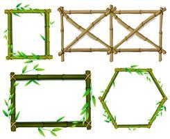 Grüne und braune Bambusrahmen vektor