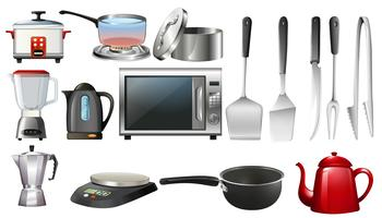 Küchenutensilien und elektronische Geräte vektor