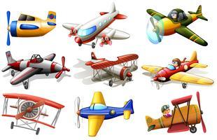 En grupp flygplan vektor