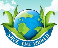 Speichern Sie das Weltthema mit Erde und Blättern vektor