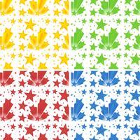 Sömlös bakgrund med stjärnor i fyra färger vektor