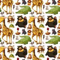 Nahtloser Hintergrund mit wilden Tieren vektor