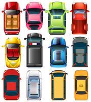 Uppifrån av olika bilar