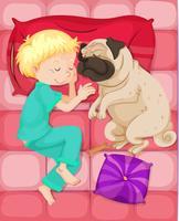 Pojke sova med husdjur hund i sängen