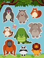 Viele wilde Tiere auf dem Feld vektor