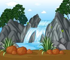 Bakgrundsscen med vattenfall i skogen