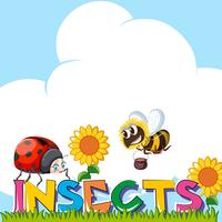 Wordcard für Insekten mit Insekten im Garten vektor