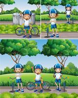 Pojkar och tjejer cyklar i trädgården