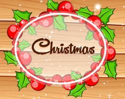 Julkort med mistletoes på träbräda vektor