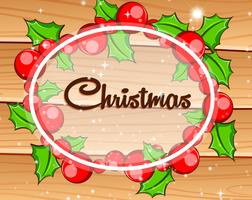 Weihnachtskarte mit Misteln auf Holzbrett vektor