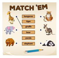 Zusammenpassendes Spiel mit wilden Tieren vektor