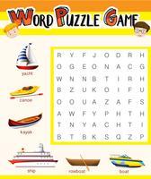 Wort-Puzzle-Spielvorlage mit Wassertransporten vektor