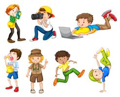 Set med olika pojkar vektor