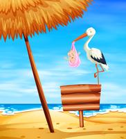 Storchschätzchen, das Baby mit Ozean im Hintergrund liefert vektor