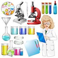 Wissenschaftler mit wissenschaftlicher Ausrüstung vektor