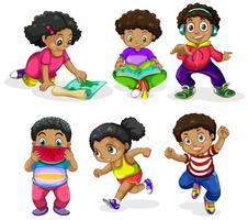 Set von afrikanischen Kindern vektor
