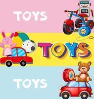 Affischdesign med leksaker i bakgrunden