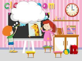 Pojke och flicka ritning och måla i klassrummet