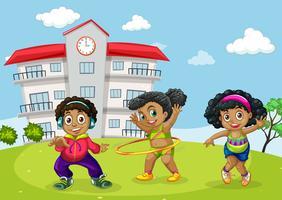 Afrikanische Kinder am Schulhof vektor