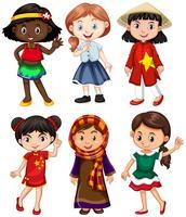 Flickor från olika länder hälsning vektor