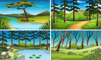 Fyra scener av skog och flod