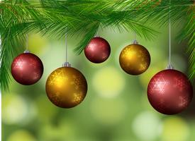 Hintergrund mit Weihnachtskugeln auf dem Baum vektor