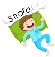 Junge im Bett schnarchen