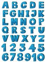 Schriftartdesign des englischen Alphabetes in der blauen Farbe