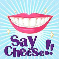 Schönes Lächeln mit sauberen Zähnen vektor