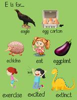 Poster brev E och olika ord