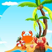 Scen med krabba och eremitkrabba på ön