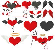 Schwarze und rote Herzen mit Flügeln vektor