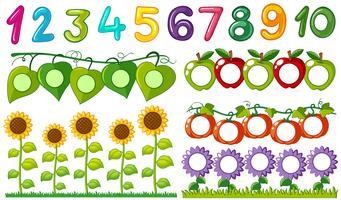 Nummer eins bis zehn mit Blättern und Blumenrahmen