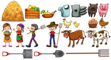 Landwirte mit ihren Werkzeugen und Tieren